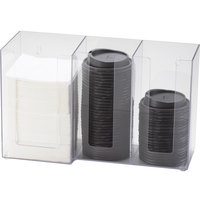 Cal-Mil 375-12 3 Section Clear Cup / Lid / Napkin Organizer - 13 1/4 inch x 5 1/4 inch x 8 inch