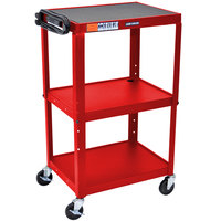 Luxor / H. Wilson AVJ42 Red 3 Shelf A/V Utility Cart 24 inch x 18 inch - Adjustable Height