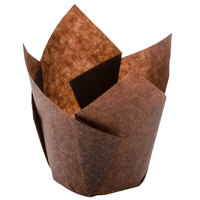 Hoffmaster 611101 2 inch x 3 1/2 inch Chocolate Brown Tulip Baking Cups - 250 / Pack