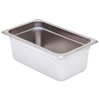 1/4 Size Standard Weight Anti-Jam Stainless Steel Steam Table / Hotel Pan - 4 inch Deep