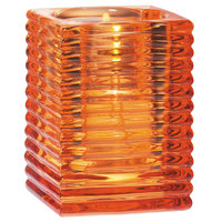 Sterno Products 80146 4 inch Orange Ribbed Kelly Square Liquid Candle Holder