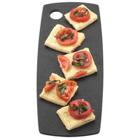 Cal-Mil 1531-616-13 Black Wooden Round Edge Rectangle Flat Bread Serving Board - 16 inch x 6 inch x 1/4 inch