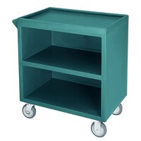 Cambro BC330192 Granite Green Three Shelf Service Cart with Three Enclosed Sides - 33 1/8 inch x 20 inch x 34 5/8 inch