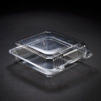 Dart Solo PET55UT1 StayLock 9 inch x 8 5/8 inch x 3 inch Clear Hinged PET Plastic Large Container - 200/Case