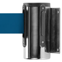 Chrome Wall-Mount Stanchion with 7' Blue Retractable Belt