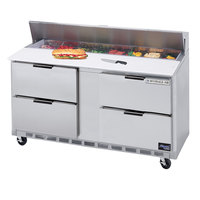 Beverage Air SPED60-10C-4 60 inch Refrigerated Salad / Sandwich Prep Table with Four Drawers - Cutting Board Top