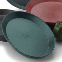 HS Inc. HS1057SB 11 inch Jalapeno Polypropylene Oval Deli Server with Short Base - 48/Case
