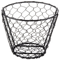 American Metalcraft WIR2 Round Black Chicken Wire Basket - 7 inch x 5 1/2 inch