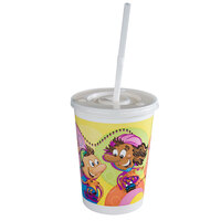 12 oz. Plastic Kids Cup - Rollerskate / Skateboard with Disposable Lid and Straw - 250 / Case