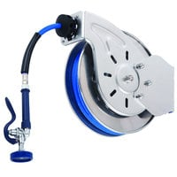 T&S B-7132-08H 35' Open Stainless Steel Hose Reel with JeTSpray Hi-Flow Spray Valve