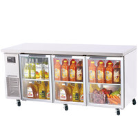 Turbo Air JUR-72-G 72 inch J Series Three Glass Door Undercounter Refrigerator with Side Mounted Compressor