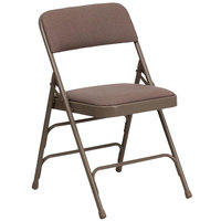 Beige Metal Folding Chair with 1 inch Padded Fabric Seat