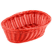 Tablecraft HM1174RD Red Oval Rattan Basket 9 1/4 inch x 6 1/4 inch x 3 1/4 inch 6/Pack