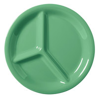 GET CP-10-FG Diamond Mardi Gras 10 1/4 inch Rainforest Green Three Compartment Melamine Plate - 12 / Case