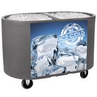 Gray Texas Tanker 1060 Portable Insulated Ice Bin / Beverage Cooler / Merchandiser with Two Compartments 256 Qt.