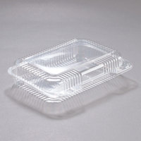 Dart PET30UT1 StayLock 9 3/8 inch x 6 3/4 inch x 2 1/8 inch Clear Hinged PET Plastic Medium Shallow Dome Oblong Container - 250/Case