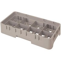 Cambro 8HS1114184 Beige Camrack 8 Compartment 11 3/4 inch Half Size Glass Rack