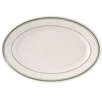 Tuxton TGB-033 Green Bay 7 inch x 4 5/8 inch Wide Rim Rolled Edge Oval China Platter - 36/Case