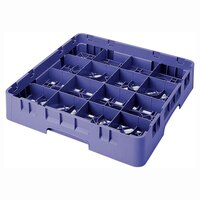 Cambro 16S534186 Camrack 6 1/8 inch High Navy Blue 16 Compartment Glass Rack