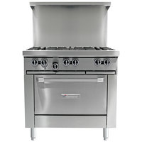 Garland G36-4G12R Natural Gas 4 Burner 36 inch Range with 12 inch Griddle and Standard Oven - 188,000 BTU
