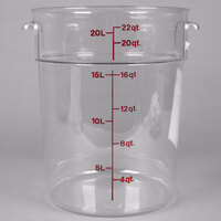 Cambro RFSCW22135 Camwear 22 Qt. Clear Round Food Storage Container