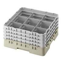 Cambro 9S1114184 Beige Camrack 9 Compartment 11 3/4 inch Glass Rack