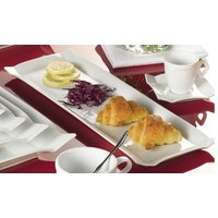 CAC TMS-61 Times Square 16 inch x 5 1/2 inch Bright White China Rectangular Platter - 12/Case