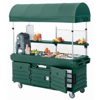 Cambro CamKiosk KVC854C519 Green Vending Cart with 4 Pan Wells and Canopy
