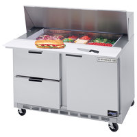 Beverage Air SPED48-12M-2 48 inch Mega Top Refrigerated Salad / Sandwich Prep Table with 1 Door and 2 Drawers