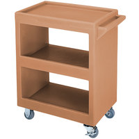 Cambro BC2304S157 Coffee Beige Three Shelf Service Cart - 33 1/4 inch x 20 inch x 34 5/8 inch