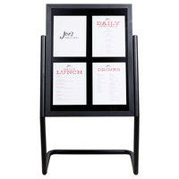 Aarco Black 25 inch x 48 inch Double Pedestal Poster Stand