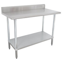 Advance Tabco KSLAG-243-X 24 inch x 36 inch 16 Gauge Stainless Steel Work Table with Undershelf and Backsplash