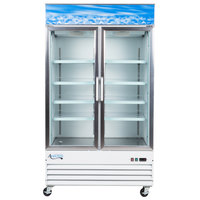"Avantco GDC40 48"" Swing Glass Door White Merchandiser Refrigerator with LED Lighting"