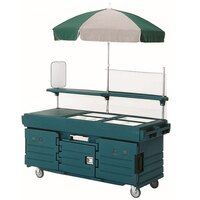 Cambro CamKiosk KVC856U192 Granite Green Vending Cart with 6 Pan Wells and Umbrella