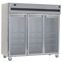 Delfield 6076XL-G 77 inch 3 Glass Door Reach In Refrigerator - 66.5 Cu. Ft.