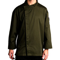 Chef Revival J113OG-L Knife and Steel Size 46 (L) Olive Green Customizable Chef Jacket with 3/4 Sleeves and Hidden Snap Buttons - Poly-Cotton