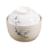Blue Bamboo Melamine 9 oz. Miso Bowl with Lid 4 inch 12 / Pack