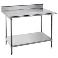 "Advance Tabco KMG-363 36"" x 36"" 16 Gauge Stainless Steel Commercial Work Table with 5"" Backsplash and Undershelf"
