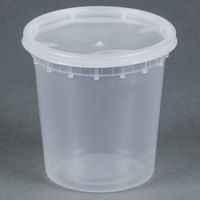 24 oz. Microwavable Translucent Plastic Deli Container with Lid - 240 / Case
