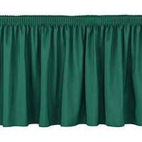 National Public Seating SS16-96 Green Shirred Stage Skirt for 96 inch Stage - 15 inch x 96 inch