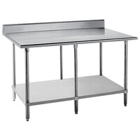 Advance Tabco KMS-2411 24 inch x 132 inch 16 Gauge Stainless Steel Commercial Work Table with 5 inch Backsplash and Undershelf