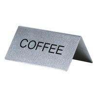 Coffee Table Tent Sign Stainless Steel - 3 inch x 1 1/2 inch