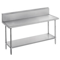Advance Tabco VKS-242 Spec Line 24 inch x 24 inch 14 Gauge Work Table with Stainless Steel Undershelf and 10 inch Backsplash