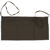 Choice 24 inch x 12 inch Brown Front of the House Waist Apron