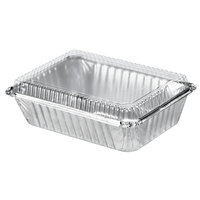 Durable Packaging 250-30-P250 2 1/4 lb. Rectangular Foil Pan with Clear Dome Lid - 250 / Case