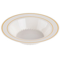 Fineline Silver Splendor 512-BO Bone / Ivory 12 oz. Plastic Soup Bowl with Gold Bands - 150 / Case