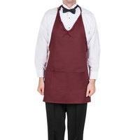 Choice 32 inch x 27 1/4 inch Burgundy Tuxedo Full Length Bib Apron with Pockets