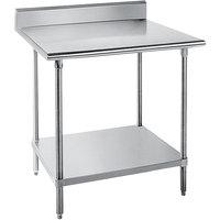 "Advance Tabco SKG-242 24"" x 24"" 16 Gauge Super Saver Stainless Steel Commercial Work Table with Undershelf and 5"" Backsplash"