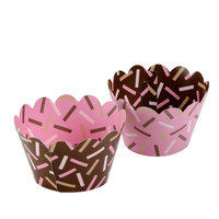 Hoffmaster 611132 Chocolate / Pink Sprinkles Reversible Cupcake Wrappers 250 / Case