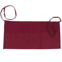 Choice 24 inch x 12 inch Burgundy Front of the House Waist Apron
